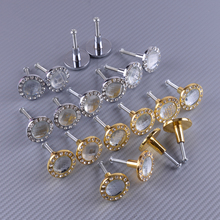 LETAOSK 10Pcs Gold/Silver Diamond Shape Crystal Glass Cabinet Knob Cupboard Drawer Door Pull Handle 30mm