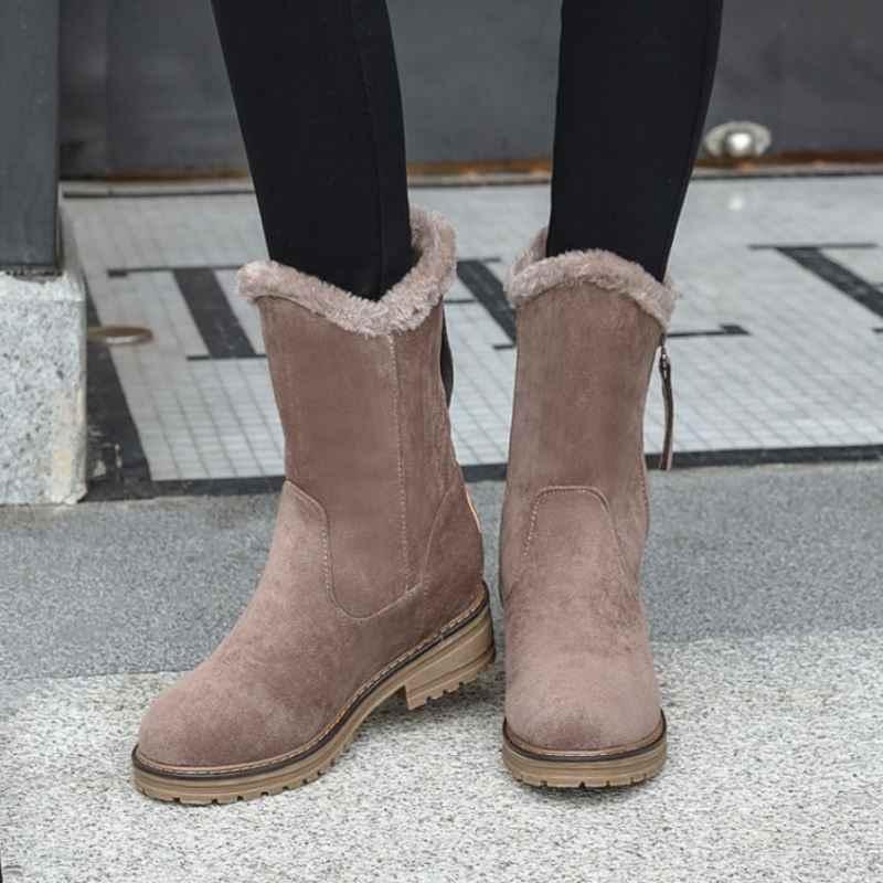 FITWEE kadın fermuar sıcak orta buzağı çizmeler sıcak tutmak kış kar botları günlük açık daireler günlük ayakkabı kadın çalışma boyutu 34-43