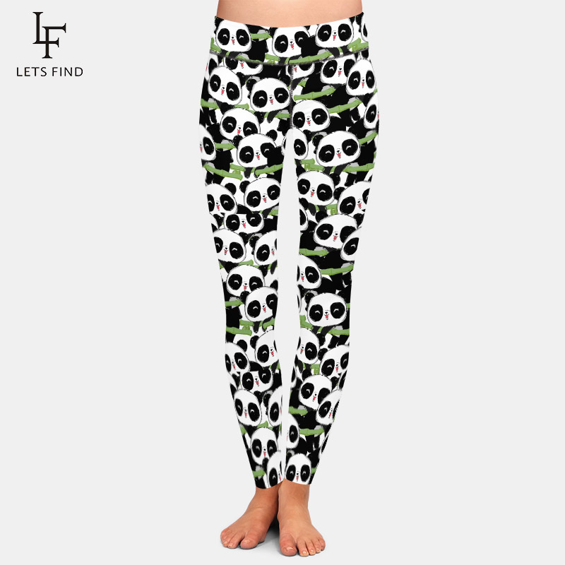 LETSFIND 2020 New Arrival Full Leggings Fashion Cute Panda Printing Women Fitness Leggings High Waist Plus Size