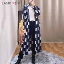 Trench-Coat Windbreaker Pleated Long-Sleeve Plaid Gradient Fashion Women LANMREM