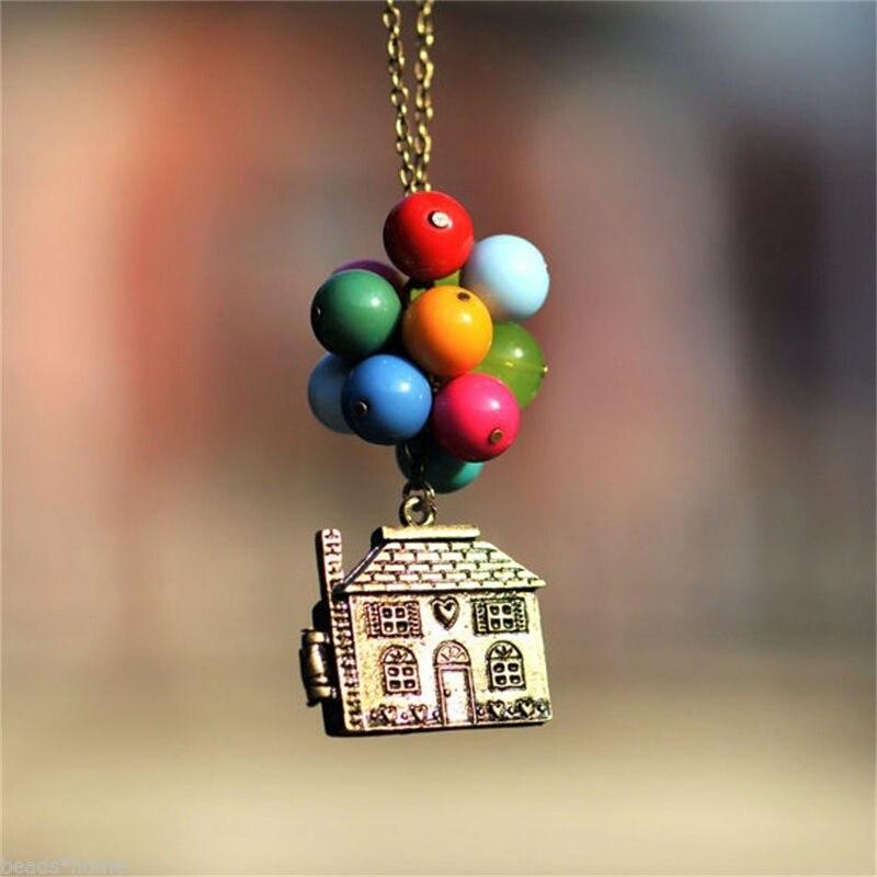 Casa de balão até colar contas pingente longo colar filme vintage mulher caixa colorida pode ser aberto colares beadwork colar Colares c/ pingente    -