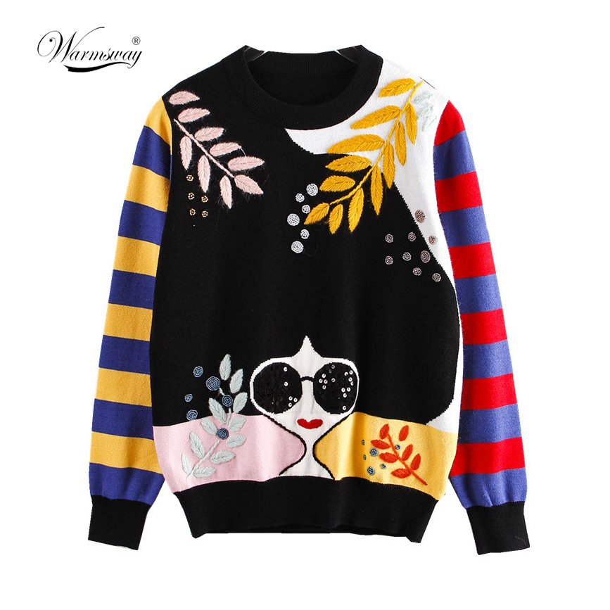 Winter New Contrast Striped Sleeve Embroidery Leaves Beaded Sequins Sunglasses Girls Knit Sweater C-177