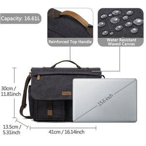 Image 3 - Vaschy Messenger Bag Voor Mannen Vintage Waterbestendig Gewaxt Canvas 15.6 Inch Laptop Aktetas Gewatteerde Schoudertas Voor Mannen Vrouwen