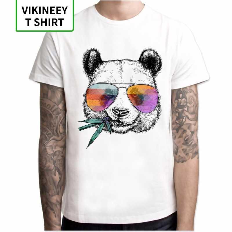 Nuovo 2020 T-Shirt Da Uomo Freddo Panda Con Occhiali Da Sole Stampato T-Shirt Manica Corta Disegno Della Novità Magliette E Camicette o-collo Degli Uomini di Modo Tee pantaloni a vita bassa