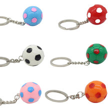 Cute Candy colors Football Key Ring pendant Fashion football Chains for men and women Bag hanging accessories #LS1907271