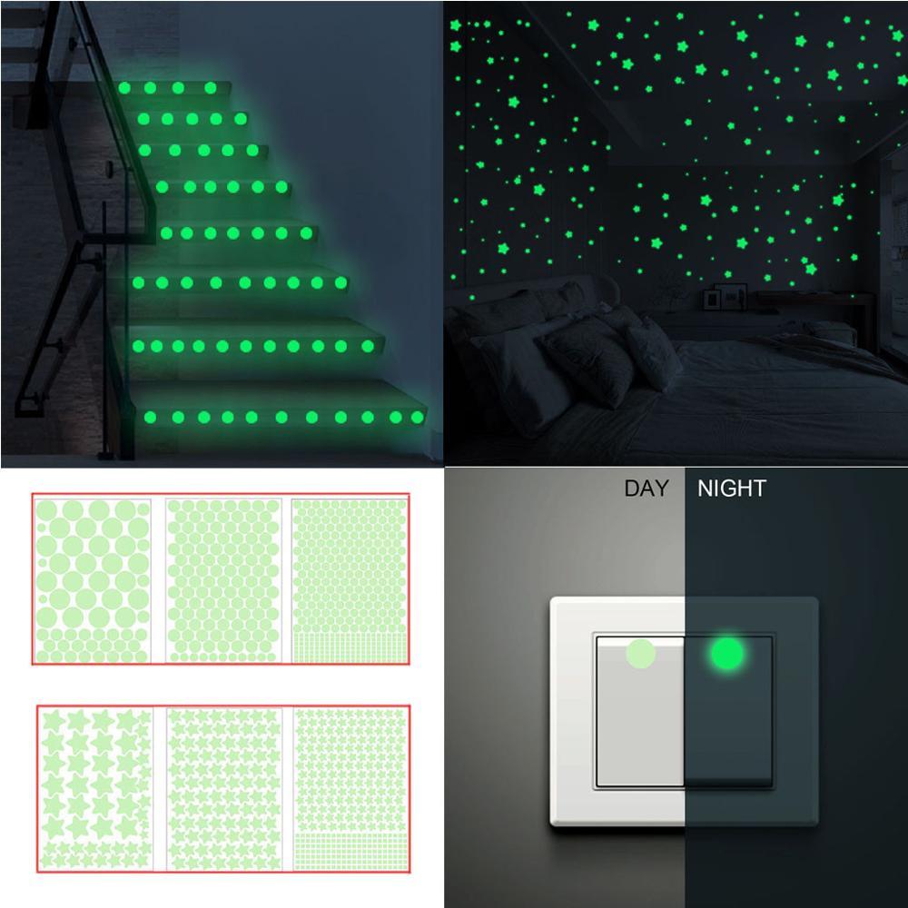 Stars Glow In The Dark Stickers Luminous 3D Wall Stickers  Fluorescent Dot Round Green Diy Decoration Luminous Toy