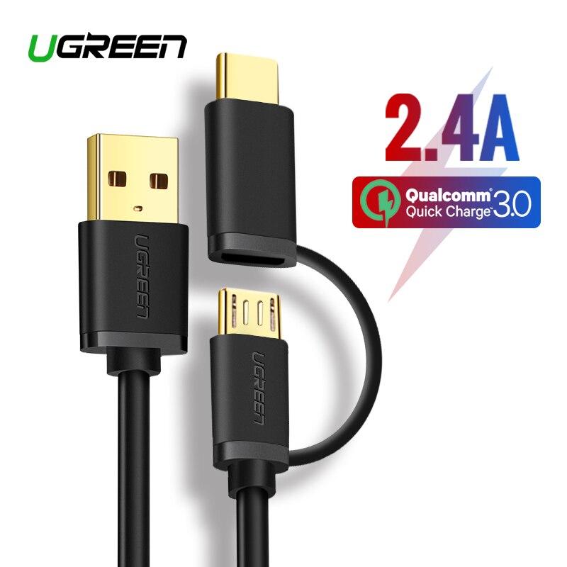 Câble de USB type C Ugreen pour Samsung Galaxy S10 S9 Plus 2 en 1 câble de chargement rapide Micro USB pour tablette Xiaomi câble USB Android
