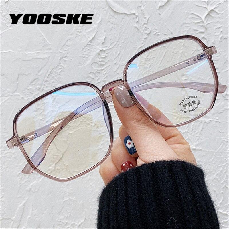 YOOSKE Oversized Optical Glasses Women Men Blue Light Blocking Eyeglasses Transparent Spectascle Frames Computer Eyewear