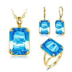 18K Gold 925 Sterling Silver Jewellry Set Blue Topaz Ring Pendant Drop Earrings For Women Wedding Valentine's Gift Fine Jewelry