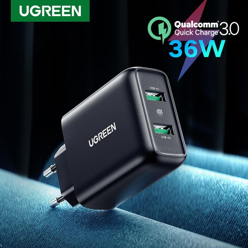 UGREEN USB зарядное устройство Quick Charge 3,0 зарядки 36 Вт Быстрая зарядка мобильный телефон зарядное устройство адаптер для Samsung Xiaomi QC 3,0 зарядное ус...