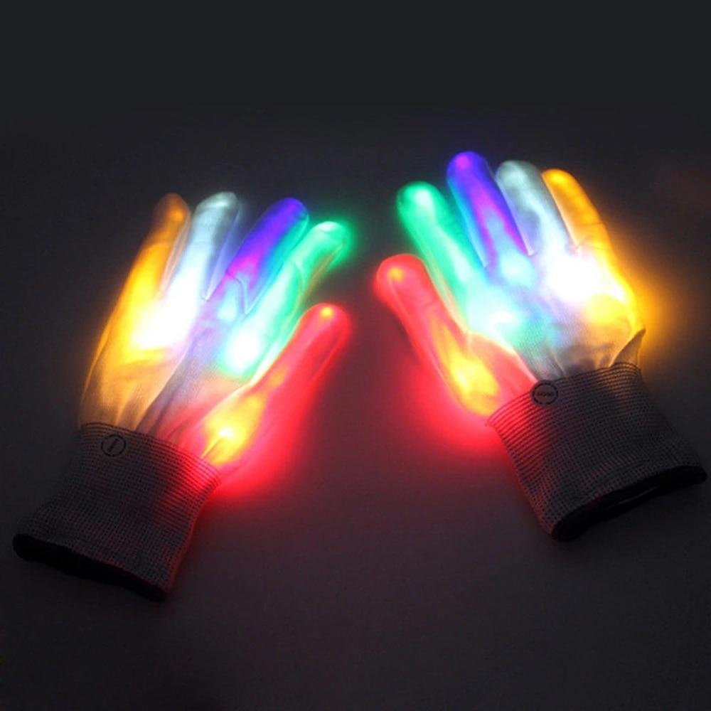 LED Glow Luminous Gloves Christmas Halloween Party Props Blue Multicolour Soft