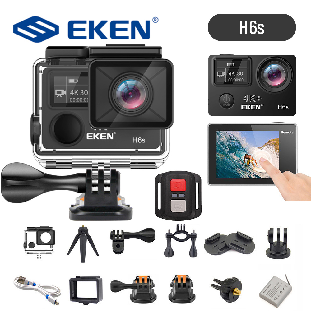 EKEN H6s 4K Ultra HD 14MP EIS Action Camera Wiht Remote Control A12 Chip 30m Waterproof Panasonic Sensor Sport Camera FS