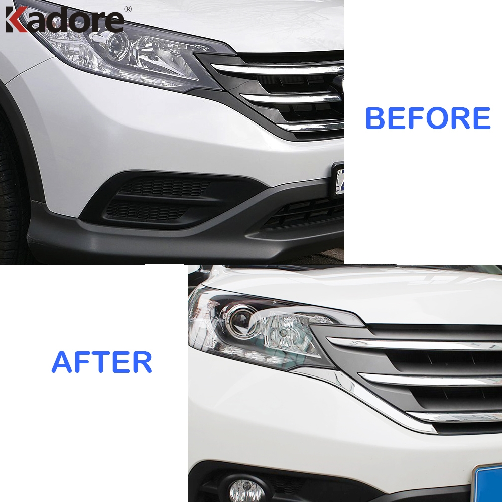 Image 2 - For Honda CRV 2012 2013 2014 ABS Chrome Front Grills Decorative Cover Frame Trim Grilles Decoration Strip Moldings accessories-in Chromium Styling from Automobiles & Motorcycles