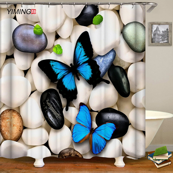 цена на YIMING 3D butterfly printed bathroom shower curtain waterproof polyester bathroom shower curtain shower curtain Bathroom curtain