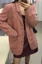 Elegant Single-breasted Women Blazer Jacket Casual Loose Female Workwear Outerwear Solid Suit 2019 coat