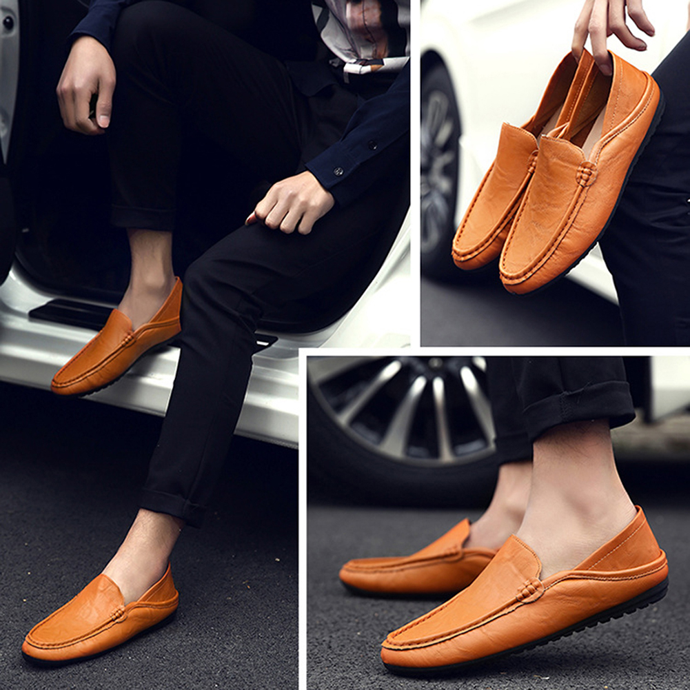 2020 Men Casual Fashion Leather Driving Shoes Luxury Brand Moccasins Slip On Loafers Flats Peas Shoes Boat Shoes Zapatos Hombre