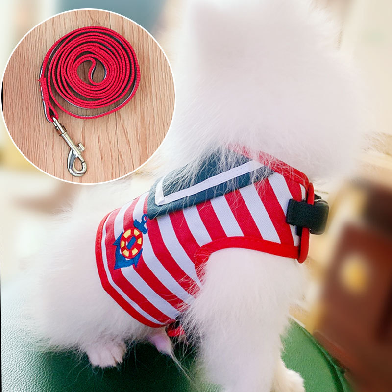 Dog Vest Lanyard Suspender Strap Pomeranian Bichon Traction Chest Teddy Chinlon Dogs Unscalable Dog Lanyard Sub-Leash