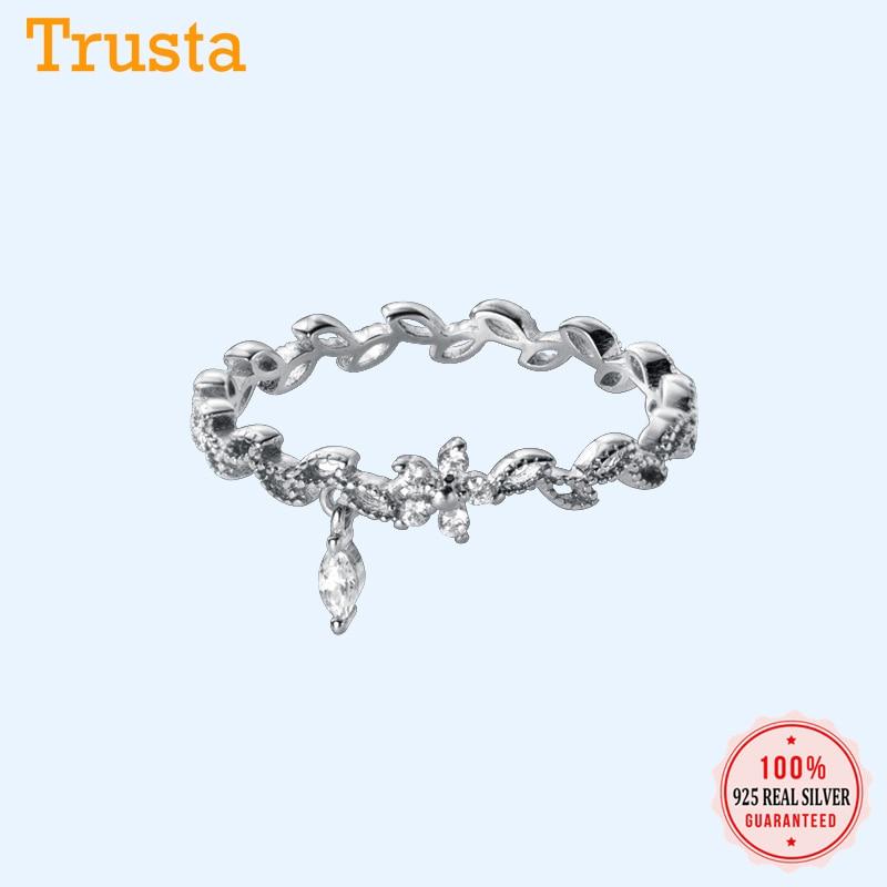 Trustdavis Genuine 925 Sterling Silver Cute Flower Branch Dazzling CZ Rings Size 5 6 7 Wonderful for Women Silver 925 Ring DA756