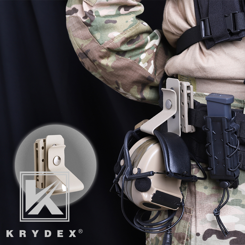 KRYDEX Tactical Sport Headset Holder MOLLE Earphone Stand Compatible W/ 1.5
