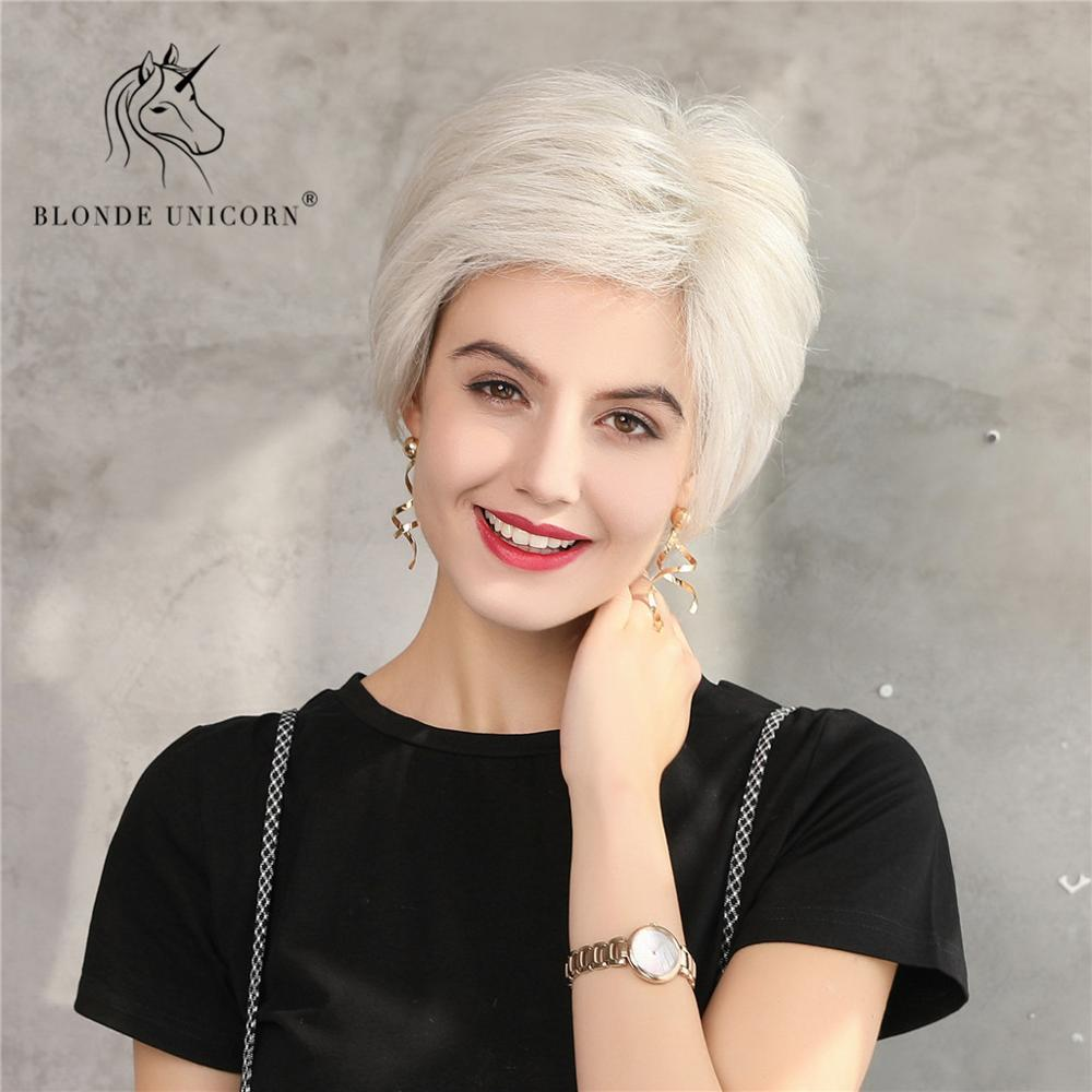 BLONDE UNICORN Fluffy Pixie Cut Short Hair Wigs White Silver Blend Human Hair and Synthetic Wig For Women Daily Use