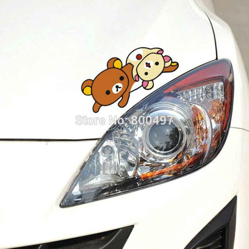 ใหม่ล่าสุดรถจัดแต่งทรงผมรถการ์ตูนหมี Rilakkuma รถสติกเกอร์รถ Decal สำหรับ Toyota Chevrolet Volkswagen Tesla Honda Ford Lada