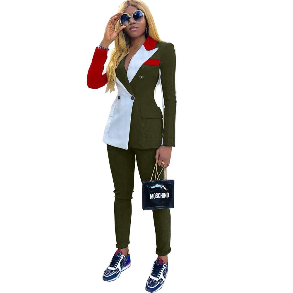 Fashion Two Piece Set Blazer Pants Suits Women Casual Notched Long Sleeve Double Breasted Patchwork Color Slim Tracksuit Outfits