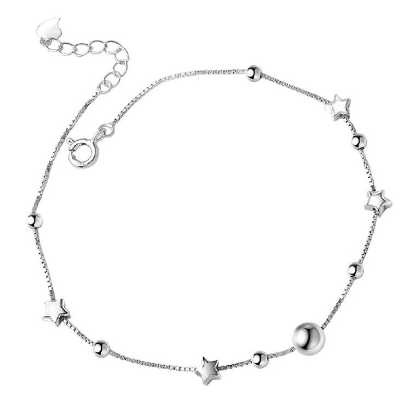 925 Sterling Silver Anklet For Women  Bohemian Beads And Star Foot Jewelry  Summer Beach Barefoot Anklet Leg Chain