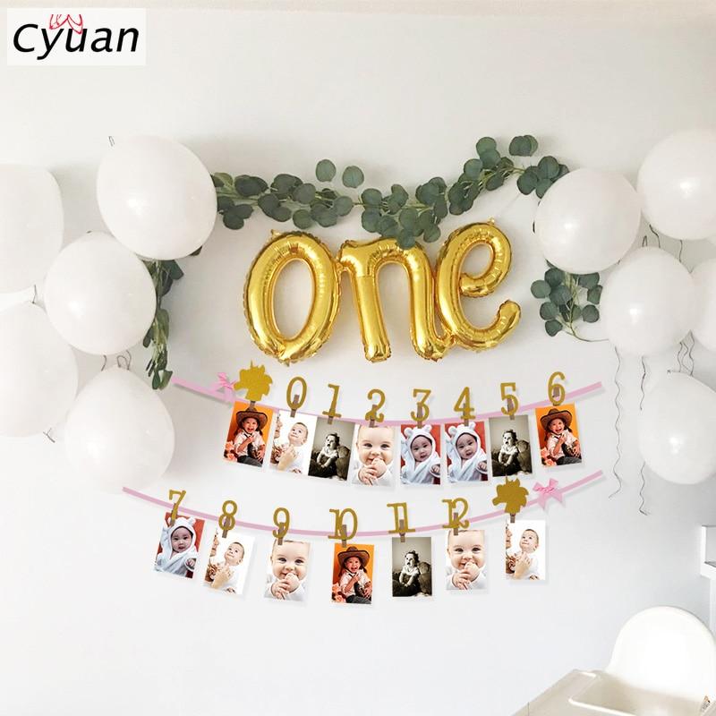 Decorações de chá de bebê, decorações de 1-12 meses para foto, bandeira de fotos, guirlanda, bebê, menino, festa, dourado, um balão, primeiro aniversário festa da menina