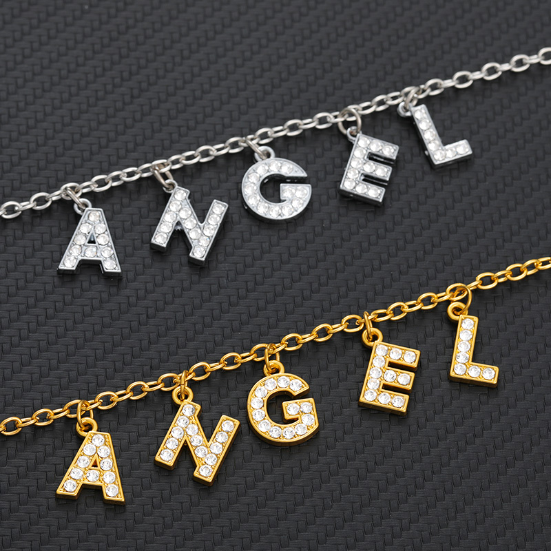 Crystal Letters Harajuku Angel Necklace Delicate Small Women Trend Jewelry Pendant Necklace Lovers Girlfriend Ornaments Necklace