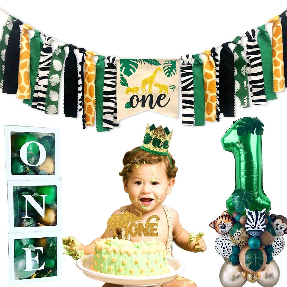 Wild One Kids 1 день рождения воздушные шары джунгли для вечеринки в стиле сафари украшение леса для первого дня рождения ребенка сафари джунгли