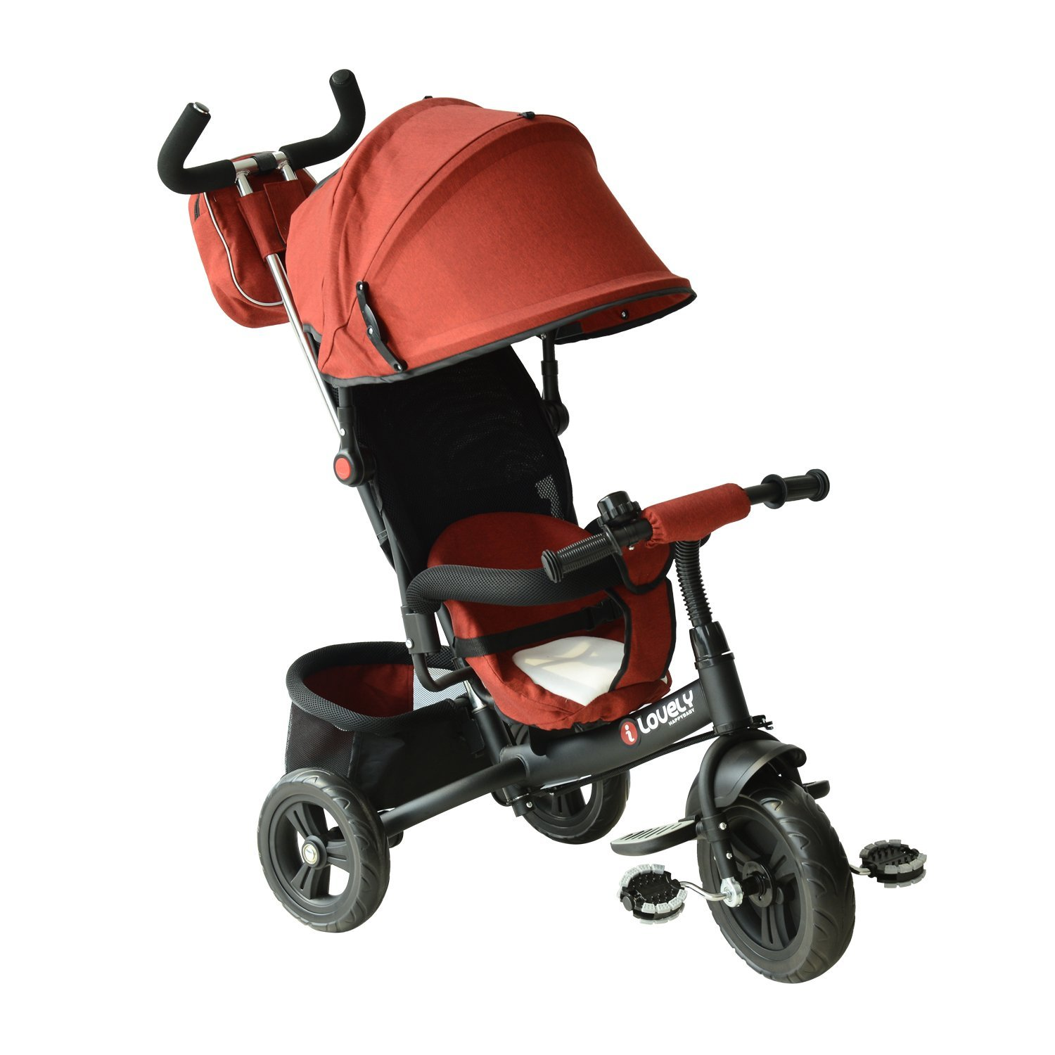 HOMCOM Tricycle Baby Stroller with Pull Handle Sunshield Deluxe metal frame for Baby Boys 96x53.5x101 cm Black and red