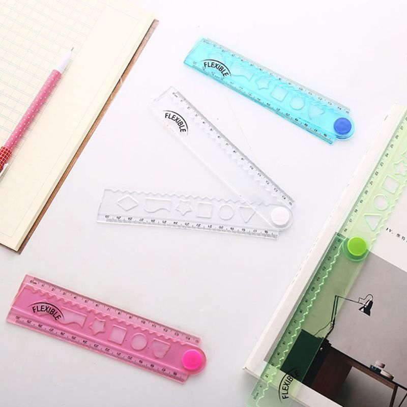 30cm Korean Flexible Folding Ruler Multifunction Plastic Drawing Rulers Office School Stationery Students Kids Gifts O26 19