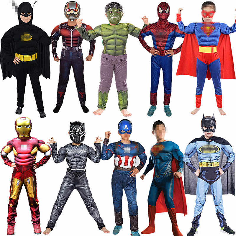 4-12Y Child Superhero Cosplay Muscle Costume  Spider Boy Long Sleeve Zipper Jumpsuit Movie Fantasy Halloween Orgy Play Kids