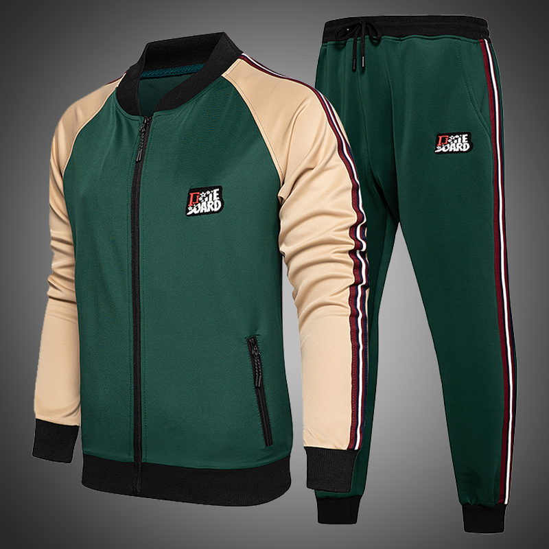 Men Tracksuit-Set Outfits Jogging-Suit Sports-Wear Two-Piece Fashion Autumn Colorblock