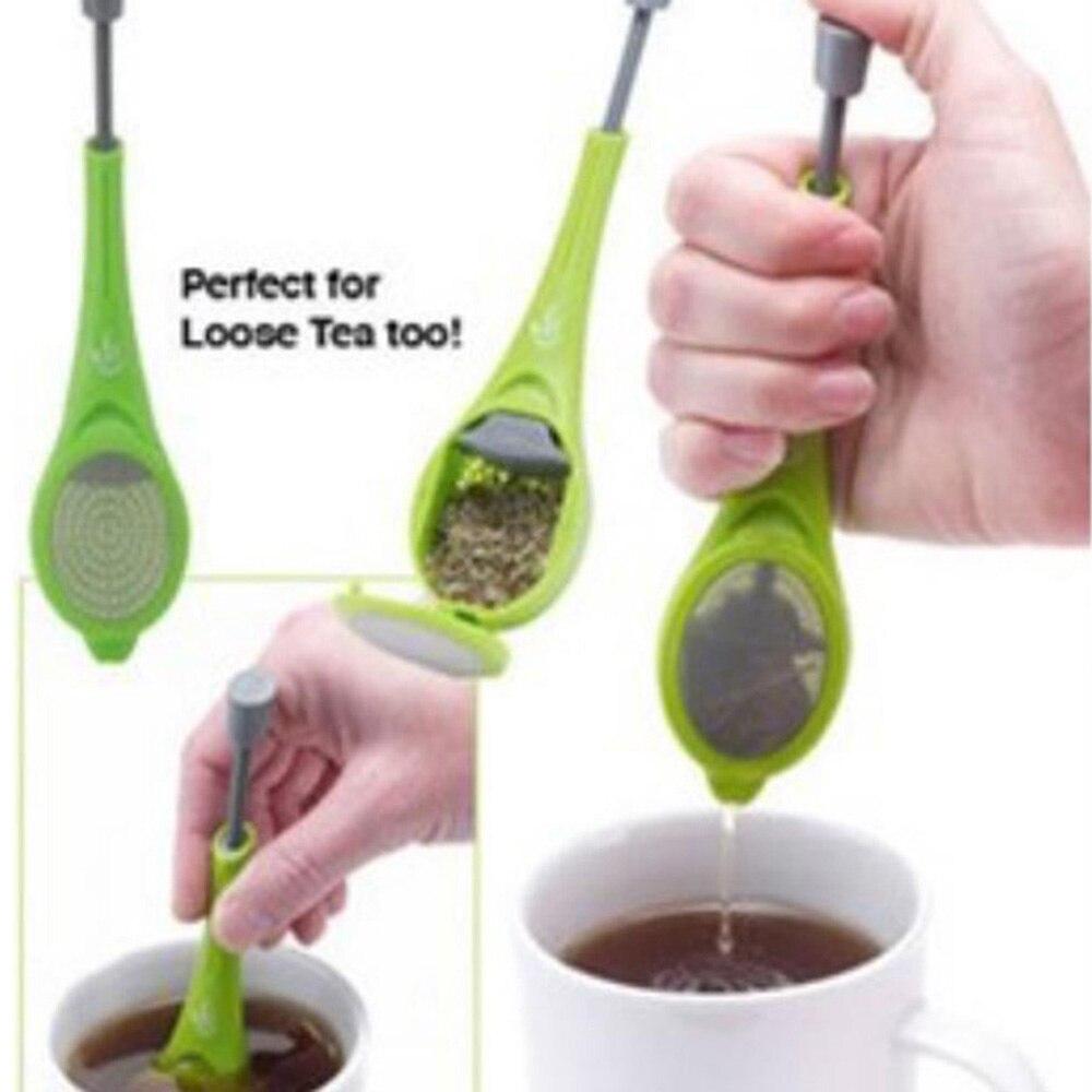 Plastic Press Swirl Long Handle Tea Filter Tea Infuser Spoon Reusable Tea Strainer Tea Bag Coffee Teacup Teapot Accessories