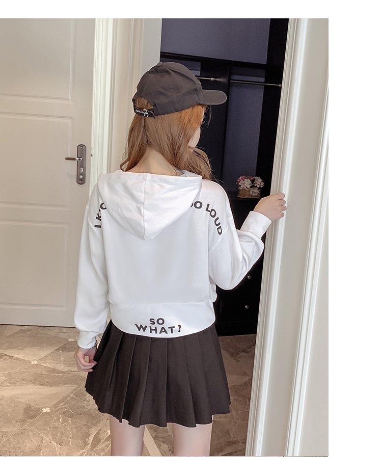 Autumn Cropped Hoodies Women 2019 New Korean Edition Long Sleeve Letter Print Hooded Casual Sweatshirt Pullovers Harajuku Tops 100