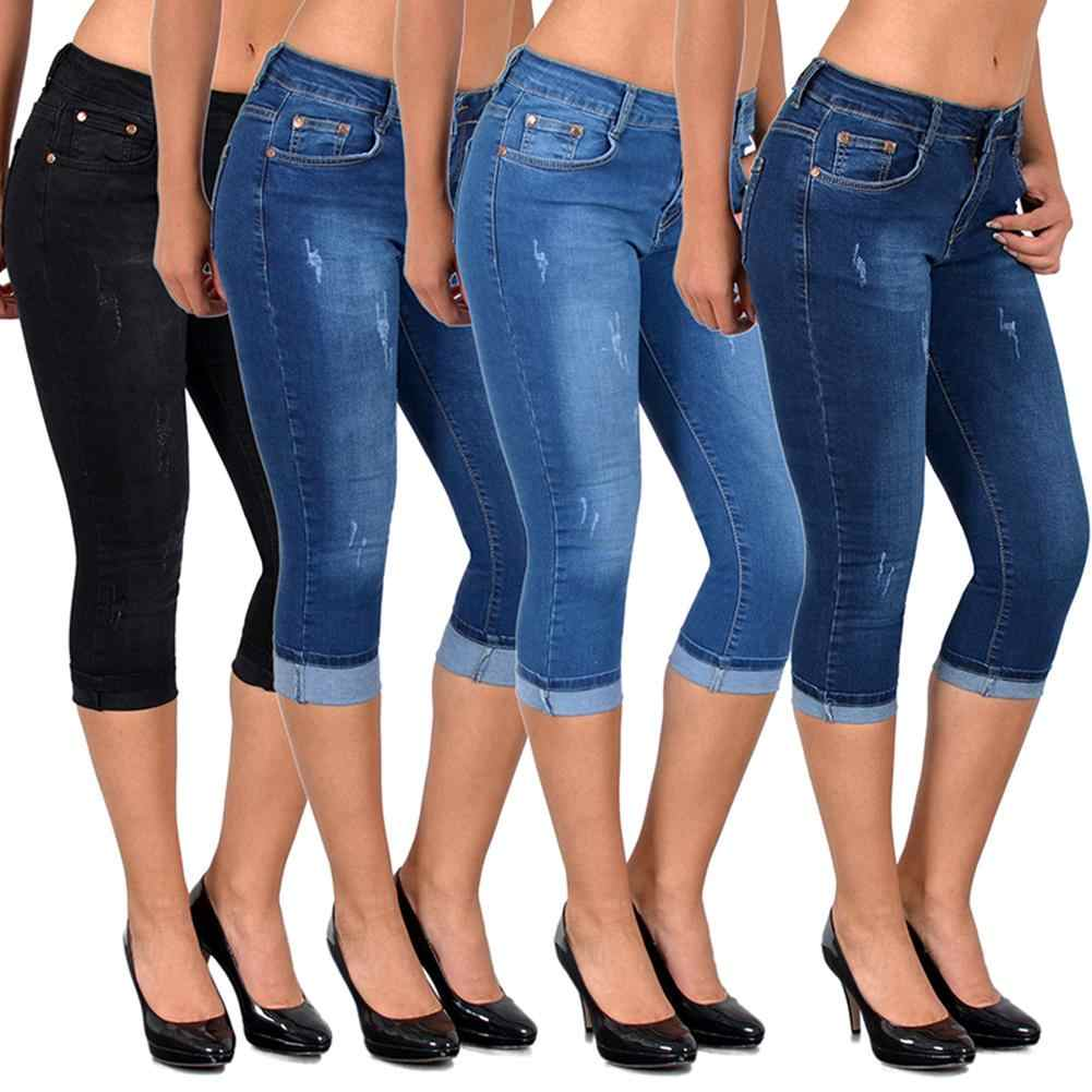 Zomer Vrouwen Mode Hoge Taille Skinny Jeans Knielengte Denim Capri Broek Hoge Taille Skinny Jeans Knielengte Denim Broek