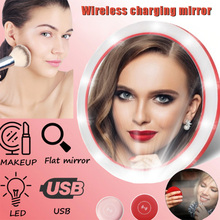 Wireless Charging LED Makeup Mirror Portable Round 3 Modes Adjustable for Women FKU66