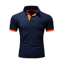 Летняя мужская рубашка поло с коротким рукавом и отложным воротником, модная повседневная облегающая дышащая однотонная деловая рубашка поло TJWLKJ