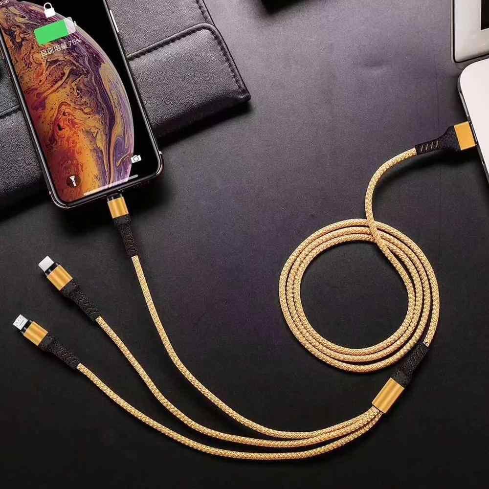 高速充電ケーブル iphone XS 7 6 充電充電器 3 1 マイクロ USB ケーブルで USB TypeC 携帯電話ケーブルサム