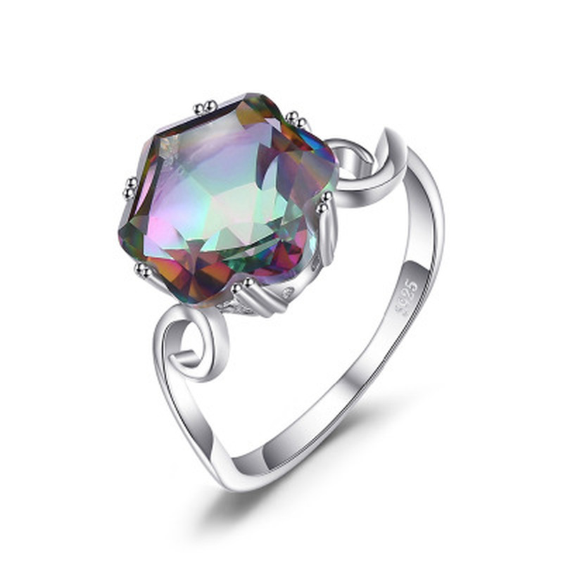 Fashion Women Ring Rainbow Fire Mysterious Topaz High Quality AAA Zircon CZ Engagement Ring Rhod Jewelry Party Gift