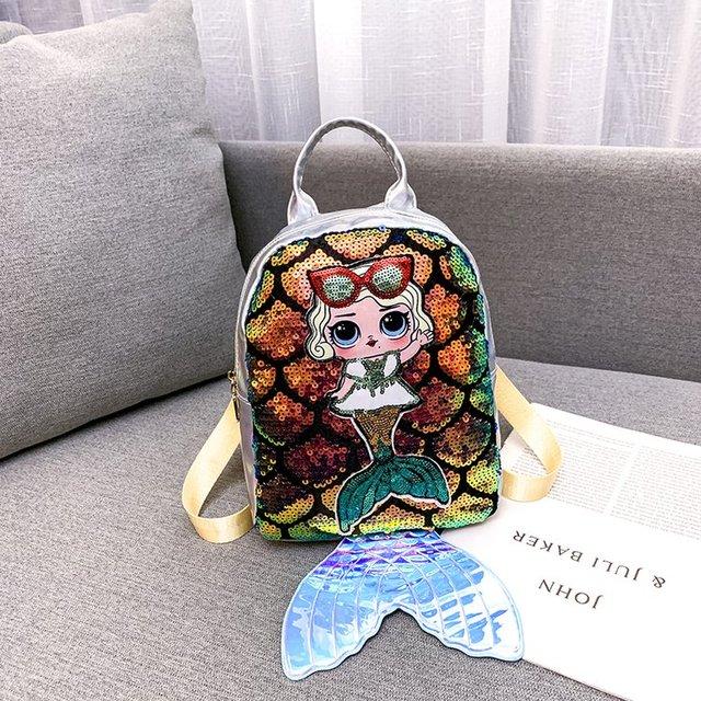 2019 New Fashion Women Backpack 3D Mermaid Shiny Scale Girls Travel Bag Women Mochila Zipper Bag Youth Ladies School Backpack