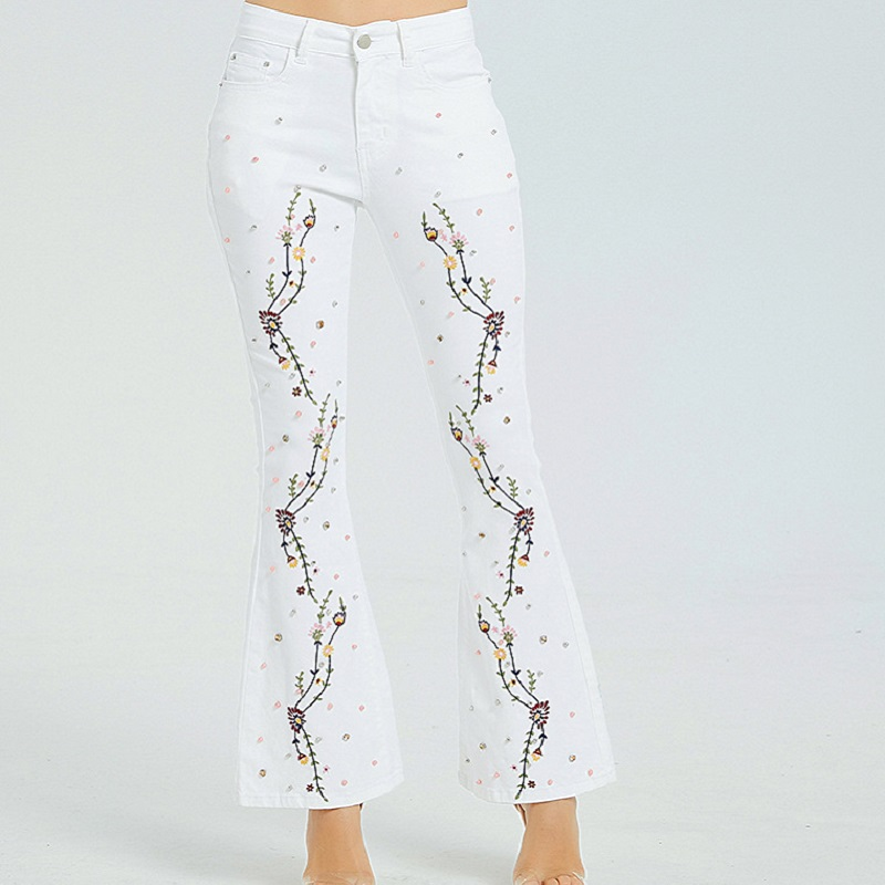 White Sexy Pearl Jeans Embroidery Flare Denim Pants Slim Femme Stretch Skinny Push Up Women Autumn 2019 Sale Items Free Shiping