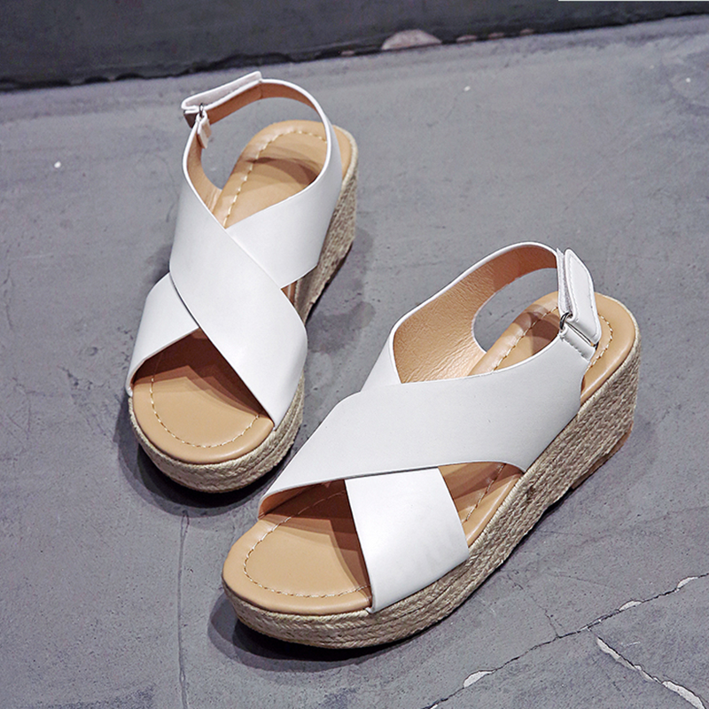 2020 takozlar ayakkabı kadınlar için yüksek topuklu sandalet yaz ayakkabı Flip Flop Chaussures Femme Platform sandaletler artı boyutu 34-43
