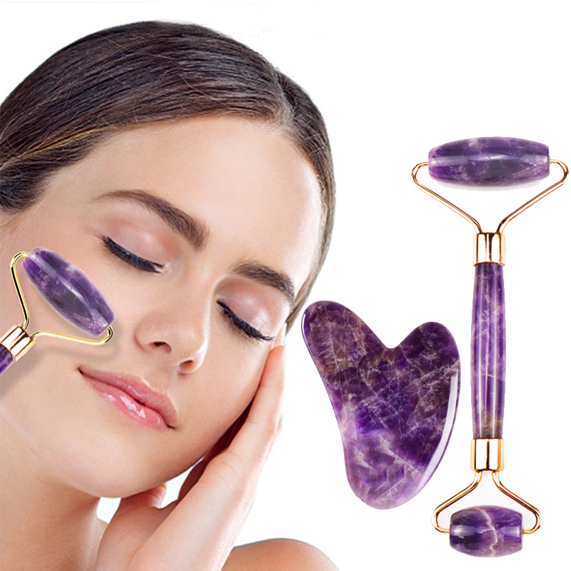 Amethyst Face Roller Tool Set Facial Neck Massage Natural Stone Jade Roller Slimming Anti Wrinkle Cellulite Double Head Beauty