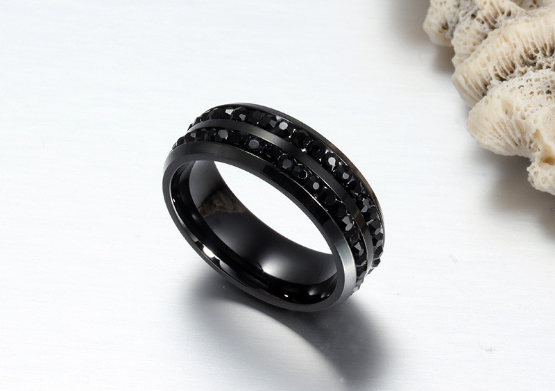 ZORCVENS High Quality Male Punk Vintage Black Stainless Steel Jewelry Two Rows CZ Stone Wedding Ring for Man Woman 3