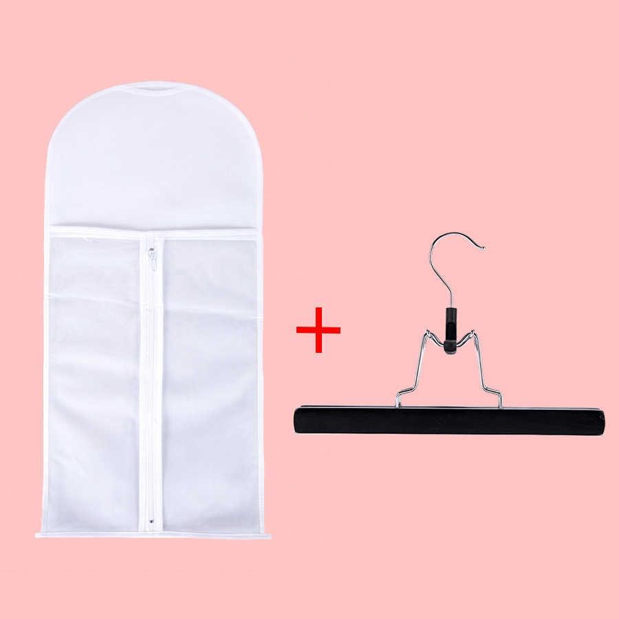 Alileader 5-10 Set/pcs Goedkope Pruik Opslag Houder Met Haar Pruik Zak Niet-geweven Anti Dust Hair Extension bag Roze Zwart Houten Hanger