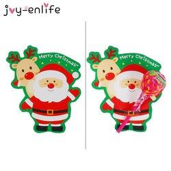 50pcs Christmas Lollipop Decorative Paper Card Holder Christmas Snowman Santa Claus Xmas Party Decorations Gift Natal Noel Decor
