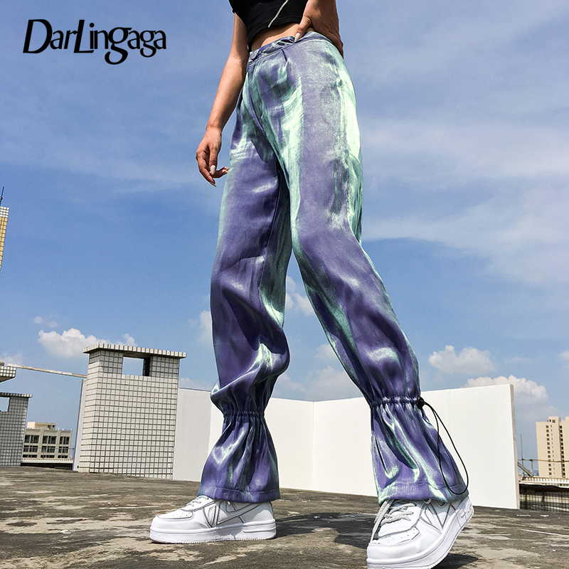 Darlingaga Casual Satin Straight Baggy High Waist Pants Trousers Drawstring Harajuku Pants Women Sweatpants Track Pantalon Femme by Ali Express.Com