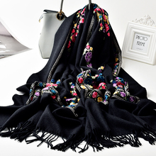 Sheep Wool Embroidery Shawl and Wrap For Women Fall Winter Oversized Design Blac